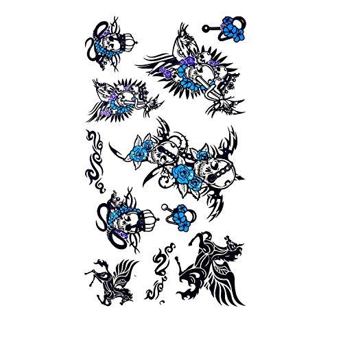 Devil Skull Wing Horse Temporary Tattoo Stickers Men Women Arm Leg Fake Tattoo Decals Waterproof Tattoo Body Art Stickers,H16