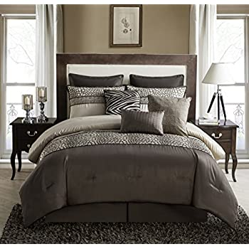 Amazon Com Vcny Brown Mali 9 Piece Queen Comforter Set