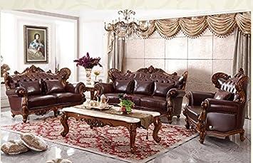 Ma Xiaoying Echtes Leder, Massivholz Buche, Traditionelle Collection  Wohnzimmer Möbel Set (Sofa,