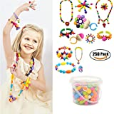 250 Pcs Arty Snap Beads Set with Storage Box, Creative DIY Jewelry Kit for Kids Toddlers Girls Handed Make Necklace Earrings Bracelets Rings ,Idea Gift Toys for 5 -12 Year Old Girl