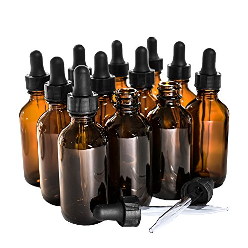 (12 Pack) 2 oz. Amber Boston Round with Black Glass Dropper
