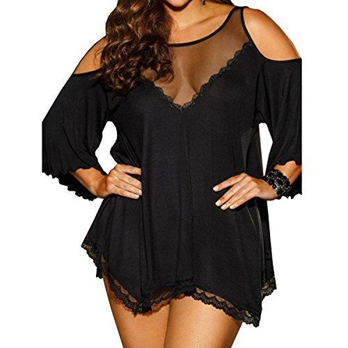 SAMGU Sexy Temptation Damen Unterwäsche Frauen Dessous Babydoll Nightgown Sleepwear Farbe Schwarz Größe XX-Large