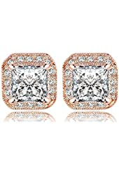 AnaZoz Jewelry 18K Gold Plated Square Stud Earring Rose Gold Platinum SWA Elements Zirconia Earrings