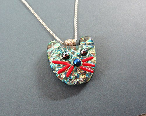Sterling silver Chain & Fused dichroic glass Sparkly Cat pendant with Sterling silver bail ready to ship.