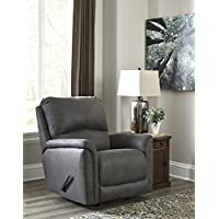 Ranika Contemporary Gray Faux Leather Rocker Recliner Chair