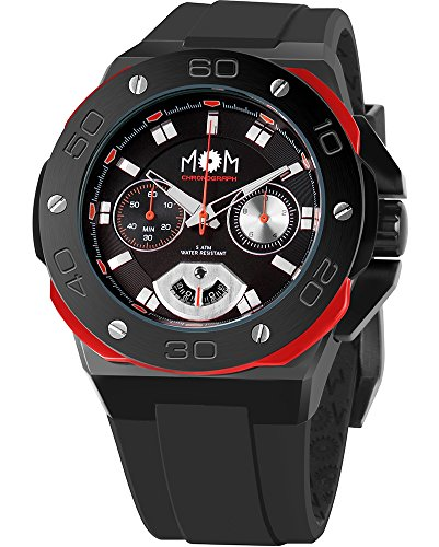 Men's Italian Designed M.O.M.Winner Chrono Black Stainless Steel, Black Dial with Red Accents and Black Silicone Rubber Strap Quartz Watch PM7110-912