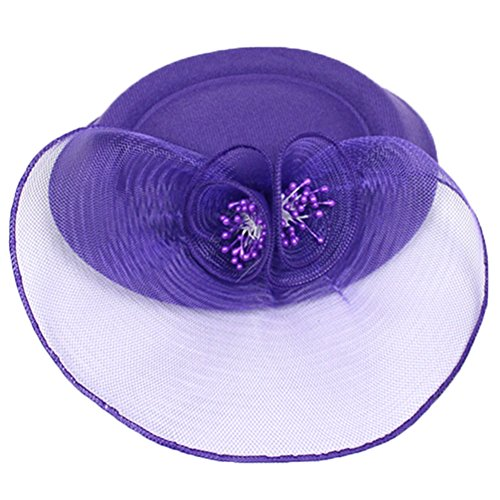 Chiyou Fascinators Womens Pillbox Flower Derby Hat for Cocktail Ball Wedding Church Tea Party by Chiyou (Image #3)