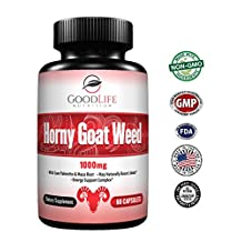 Horny Goat Weed Herbal Supplements: Natural Ginseng Maca Root & Tribulus Terrestris - Increases Focus & Energy For Men & Women 60 Veggie Caps by GoodLife Nutrition