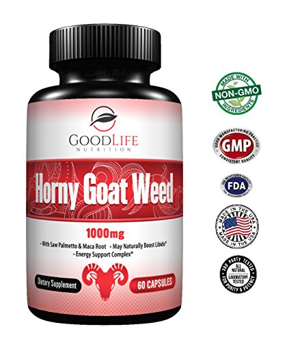 Horny Goat Weed Herbal Supplements: Natural Ginseng Maca Root & Tribulus Terrestris - Increases Focus & Energy For Men & Women 60 Veggie Caps by GoodLife Nutrition (Fly Pro Drops Spanish)
