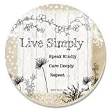 CounterArt Decorative Absorbent Coasters, Live Simply, Set of 4
