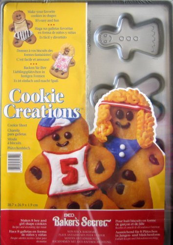 Ekco Bakers Secret Cookie Sheet - BOYS & GIRLS Shape Cookie Creations
