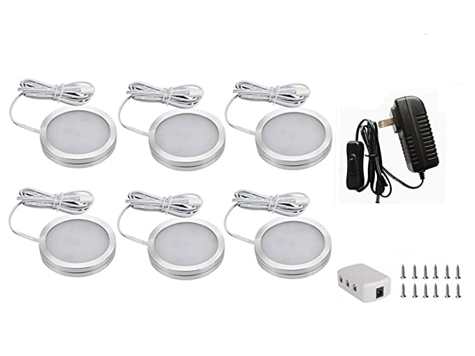 aoxled® 6 pcs regulable LED iluminación bajo armario Kit, dc12 V12 W – Luz