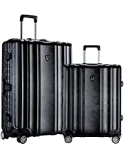 """TPRC 2 Piece Donna Collection Surdy Aluminum Frame, Wide-Body, Color-Coordinated Accented Luggage with Dual TSA Locks Includes 28"""" Suitcase and 20"""" Carry-On Luggage, Black Color Option"""