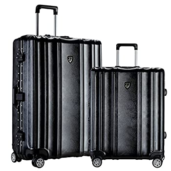 Image of TPRC 2 Piece 'Donna Collection' Surdy Aluminum Frame, WIDE-BODY, Color-Coordinated Accented Luggage with Dual TSA Locks Includes 28' Suitcase and 20' Carry-On Luggage, Black Color Option Luggage