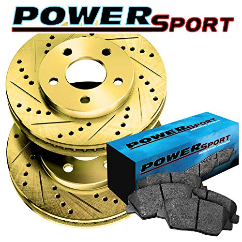 Fit Lexus GS400, GS300, GS430 Front Gold Drill Slot Brake Rotors+Ceramic ()