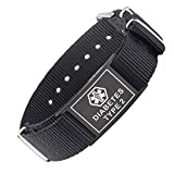 LinnaLove Cool black Sports Canvas band Medical alert id bracelets -TYPE 2 DIABETES