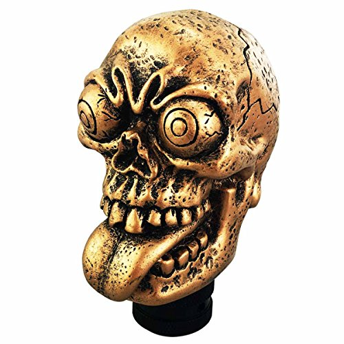 Abfer Skull Gear Stick Shift Knob Automatic Manual Shifter Knobs for Car Truck (Gold)