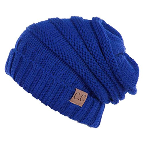 Blue Beanie Hat (Funky Junque H-6100-57 Oversized Slouchy Beanie -Royal Blue)