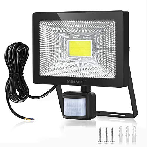 MEIKEE 50W 5000 LM Foco LED con Sensor de Movimiento, Super Brillante 6000K Focos LED Exterior Sensor, IP66 Impermeable Foco LED Detector Movimiento,para ...