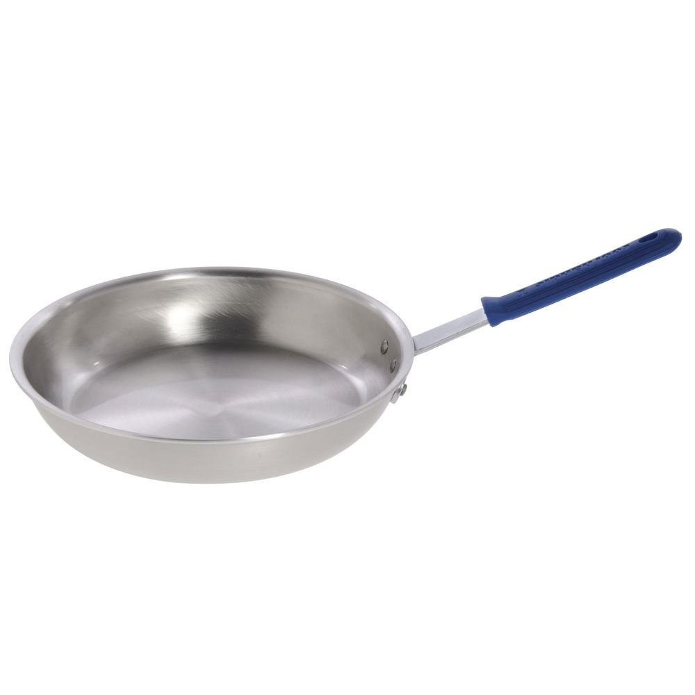 HUBERT Aluminum Fry Pan Frying Pan With Blue Silicone Sleeve - 25 9/10 L x 14 3/5 W x 2 7/10 H