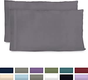Cosy House Collection Luxury Bamboo Standard Size Pillowcases - Grey Pillowcase Set of 2 - Ultra Soft & Cool Hypoallergenic Natural Bamboo Blend Cover - Resists Stains, Wrinkles, Dust Mites