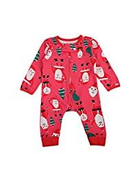 Baby Boy Girl Sleeper Father Christmas Trees Printed Romper Cute Floral Pajamas