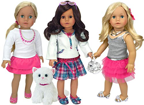 Sophia's Doll Clothes 8 Piece Set with White Kitten | Three Doll Outfits Plus Sunglasses and Plush Cat, Perfect for 18 Inch American Dolls & More!