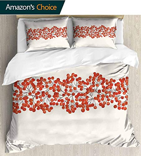 Rowan Home Duvet Cover Set,Border with Wild Red Mountain Ashes on Twigs Hand Painted Natural Artwork Print Print Quilt Cover Set White Queen Pattern Bedding Collection 87
