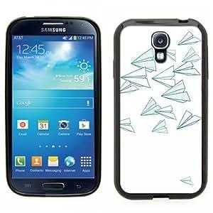 Samsung Galaxy S4 SIIII Black Rubber Silicone Case - Paper Airplane Design, Little Airplanes