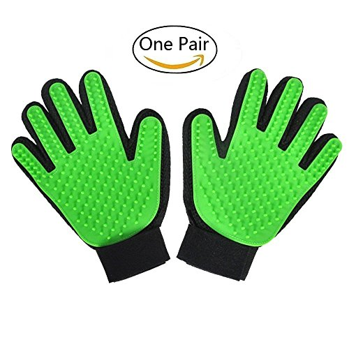 IVYRISE Pet Grooming Glove Cleaning Shower Brush Glove, Pet Massage Tool Hair Remover Glove for Short Hair Long Hair Dogs Cats Rabbits, Set of 2-Right Hand and Left Hand, Green