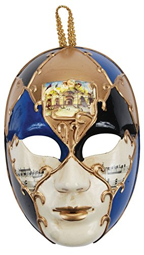 Loftus International Music Notes Full Face Masquerade Venetian Mask, Blue/Gold, One -