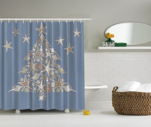 Ambesonne Blue White Seashell Beach Christmas Holiday Tree Fabric Shower Curtain for $<!--$11.90-->
