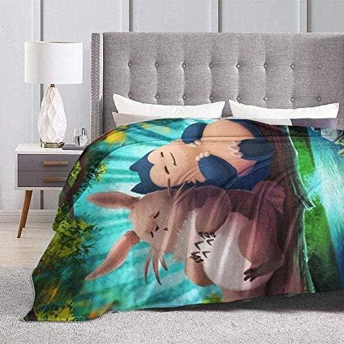 Inhomer Couverture en flanelle My Neighbor Totoro and Snorlax Couverture en polaire ultra douce et chaude pour canapé-lit 50 x 10,287,0 x 10,363,2 x 152,4 cm