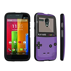 Zheng case Motorola Moto G 2013 1st Gen. Hard Case Black - (Gameboy Purple)