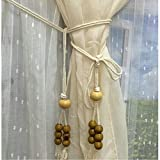 EleCharm 1 Pair Countryside Wood Beaded Curtain Tie Band Cotton Curtain Cord Rope