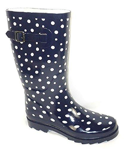 Shoes8teen Shoes 18 Stivali Da Pioggia Classici Da Donna Con Stampe Fibbia E Solidi Navy Polka Dot 5000