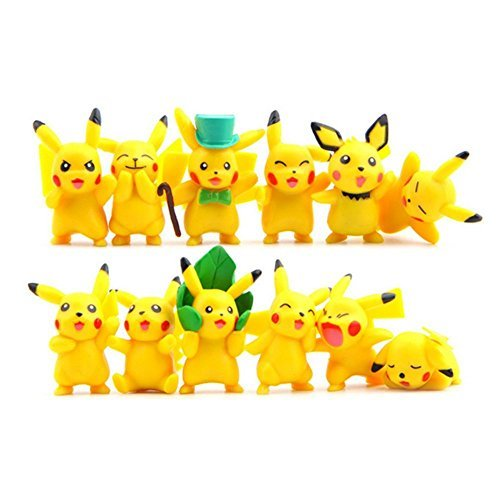 Pokemon-Style Pikachu Cake Toppers Set of 18 Figures 1.75