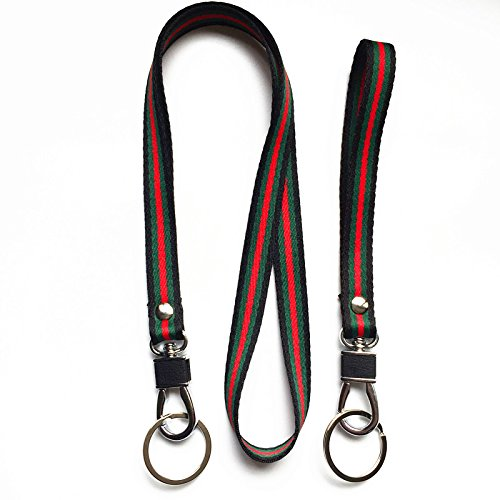 Heavy Duty Neck Lanyard and Hand Wrist Strap Keychain, Flat Woven Yarn Dyed Stripe Webbing with Silver Swivel Hook & Key Ring. for Camera,Keychain,ID Name Tag Badge Etc Device.(Black/Green/Red)