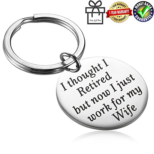 Alxeani Funny Humor Retirement Gag Gifts for Coworkers, Men and Dad, Retirement Keychain for Boss Husband Retired Now I Just Work for My - Jewelry Humor Funny
