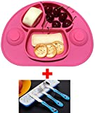 Strong Suction Silicone Placemat and Tray for Babies,Safe Non-toxic Food Grade Silicone, Phthalate Free, Not Breakable, Easy Clearning with a set of tableware( pink)
