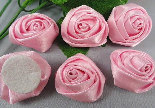 15pc Big Satin Ribbon Rose Flower DIY Craft Wedding Appliques Lots-pink
