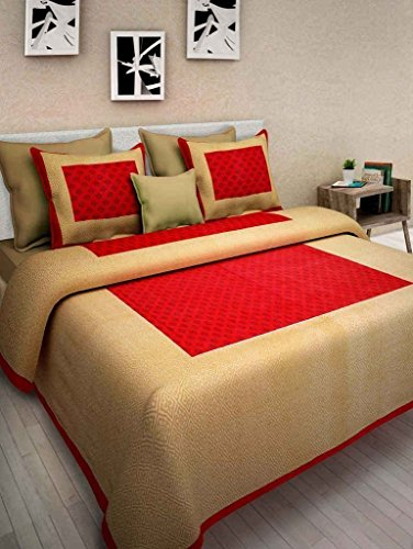 Cottonhandicool Cotton Rajasthani King Size Double Bedsheet With 2 Pillow  Cover ( Red ) ( Shop Jaipuri ): Amazon.in: Home U0026 Kitchen