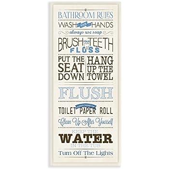 stupell home dcor bathroom rules blue and black print bathroom wall plaque 7 x 05
