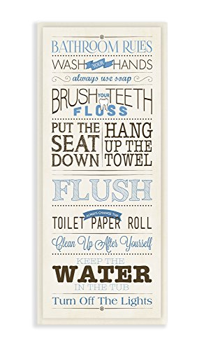 Bathroom Wall Plaques (Stupell Home Décor Bathroom Rules Blue And Black Print Bathroom Wall Plaque, 7 x 0.5 x 17, Proudly Made in USA)