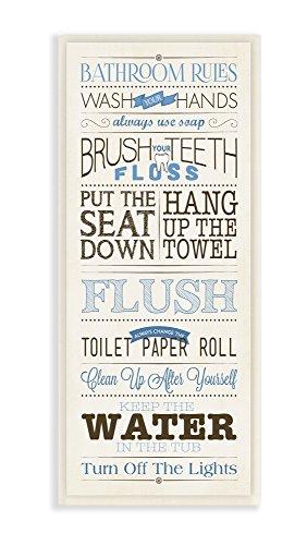Stupell Home Décor Bathroom Rules Blue And Black Print Bath