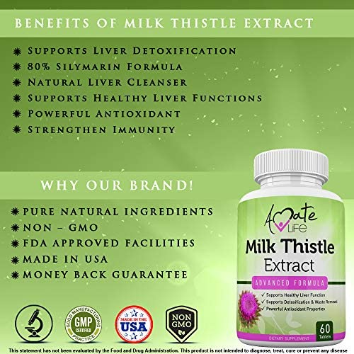 Milk Thistle Extract Liver Support Supplement Cleanse Detox Repair Formula 80 Silymarin Powerful Antioxidant Supplement or Men Women 60 Tablets Amate Life