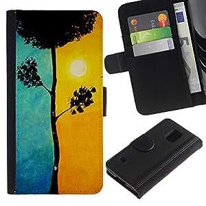 [Neutron-Star] Modelo colorido cuero de la carpeta del tirón del caso cubierta piel Holster Funda protecció Para Samsung Galaxy S5 V SM-G900 [Blue Tree Significado Sun Pintura]