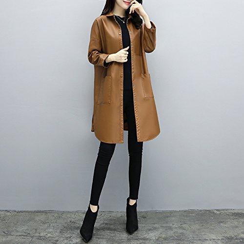 Las niñas Mayihang abrigo largo abrigo de cuero Casual Vestido suelto Brown