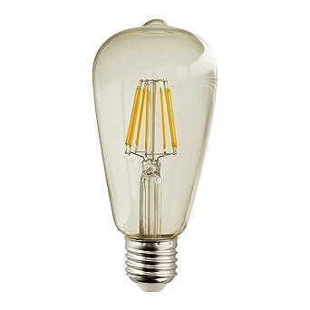 LightED Bombilla LED E27, 7 W, Transparente Dorado, 64 x 140 mm