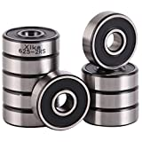 XiKe 10 Pack 625-2RS Precision Bearings 5x16x5mm, Rotate Quiet High Speed and Durable, Double Seal and Pre-Lubricated, Deep Groove Ball Bearings.